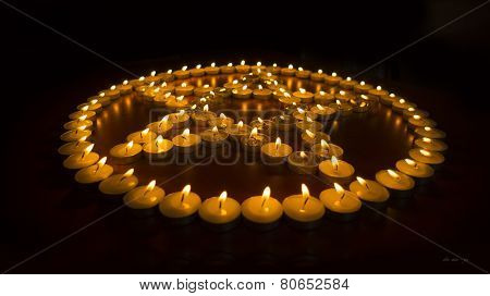 Burning Candles in a Pentagram
