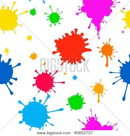 Seamless Vector pattern    of colored blots on  white background