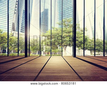 Office Cityscape Builidings Contemporary Interior Room Modern Concept