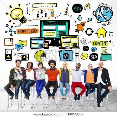 Diversity Casual People Responsive Design Teamwork Support Concept