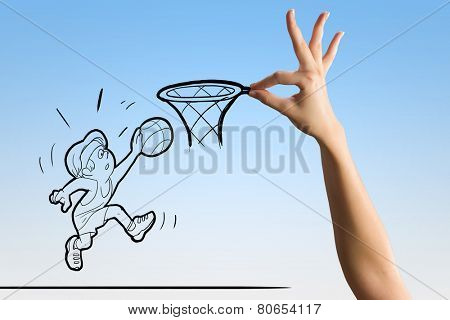Funny caricature of basketball player putting ball in basket