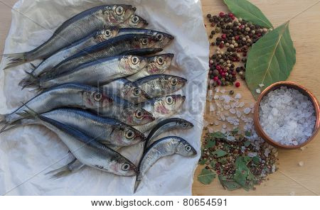 small fish and spices for salting