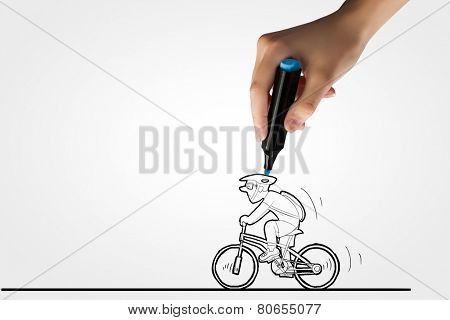 Caricature of man riding bike and human hand drawing line