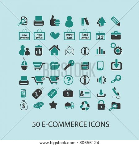 50 e-commerce, shopping, internet shop, ecommerce icons, signs, illustration isolated on background set, vector