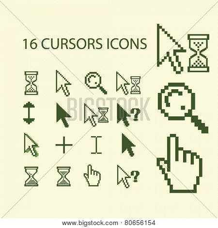 16 cursors, pixel pointer, search, hand, touch, time, waiting web icons, signs, illustration isolated on background set, vector