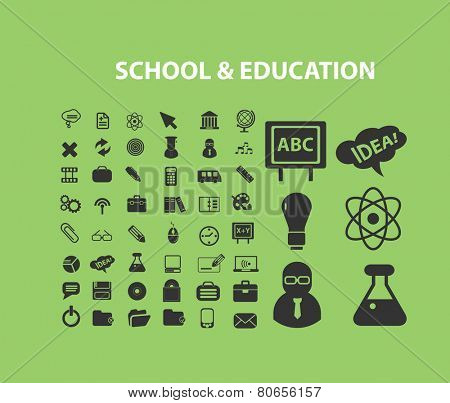 school, education, study, learning, science, lab icons, signs, illustration isolated on background set, vector