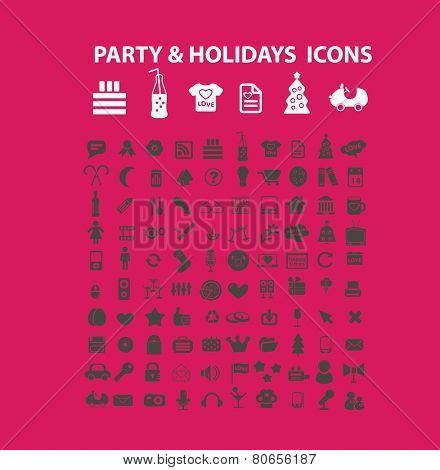 party, holidays, events, birthday, celebration icons, signs, vector illustrations