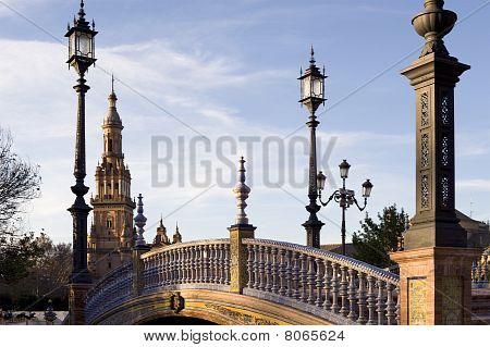 Bridge over moat .Plaza De Espana. Seville