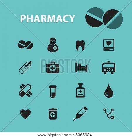 pharmacy icons, signs, illustration isolated on background set, vector