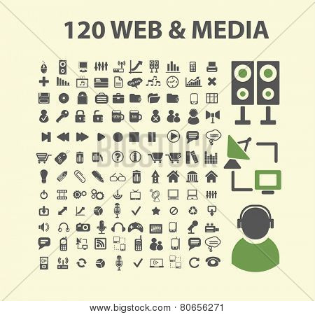120 web media, audio, music, video icons, signs, illustration isolated on background set, vector