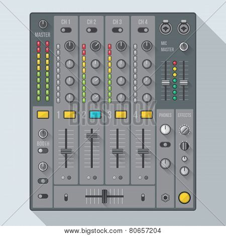 flat style sound dj mixer illustration