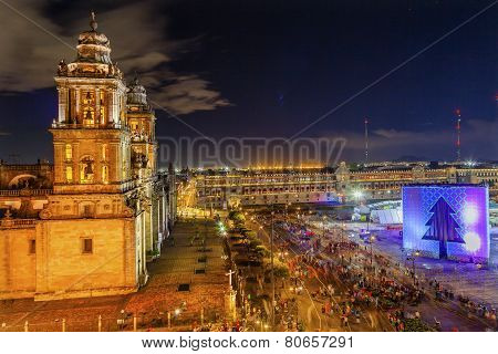 Metropolitan Cathedral Zocalo Mexico City Christmas Night