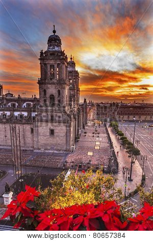 Metropolitan Cathedral Christmas Zocalo Mexico City Sunrise
