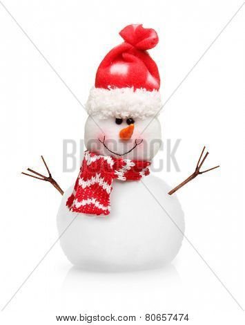 Snowman in xmas red hat isolated on white background.