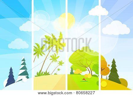 four season concept landscape flat design vector
