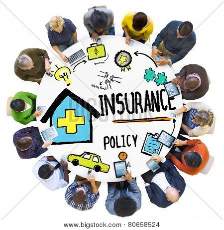 Diversity Casual People Insurance Policy Social Media Concept