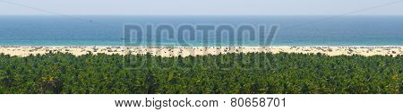 Sky, Sea, Sand And Jungle Tranquil Panorama For Relaxation