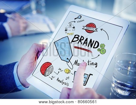 Businessman Digital Tablet Planning Marketing Brand Concept
