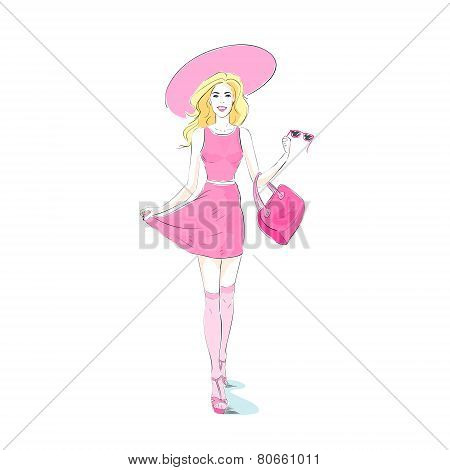 fashion woman pink sexy dress, hat stocking isolated white