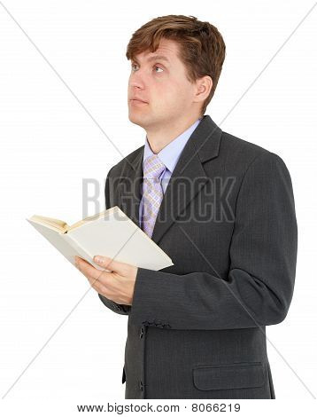 Student Reads Book Isolated On White