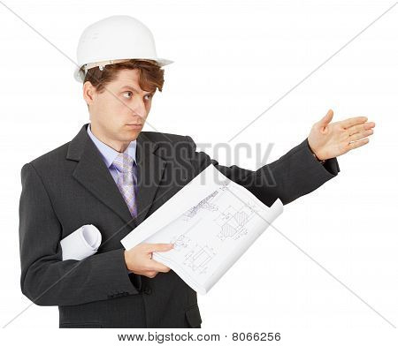 Foreman Pointing Direction, Isolated On White