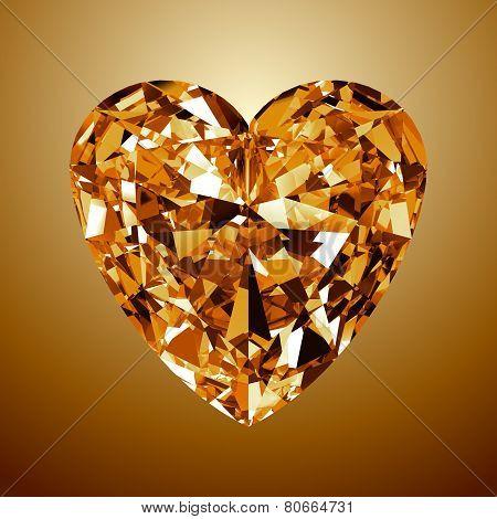 Yellow Diamond Heart