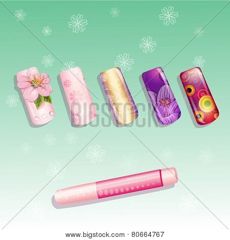Set of fake nails and a bottle of glue