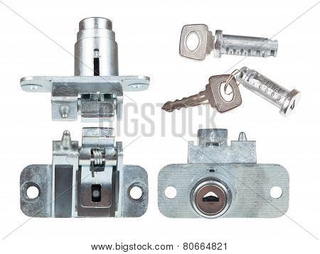 Car's Trunk Lock With A Key. View From Different Angles