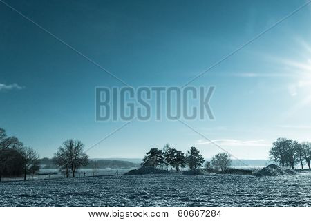 Winter Landscape View Fields Forests Covered Snow