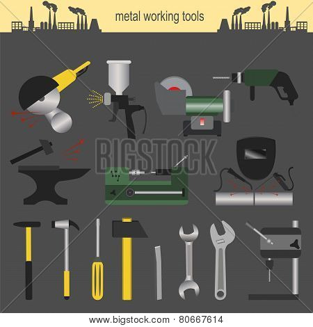 Set Of Metallurgy Icons, Metal Working Tools; Steel Profiles For Creating Your Own Industry Infograp