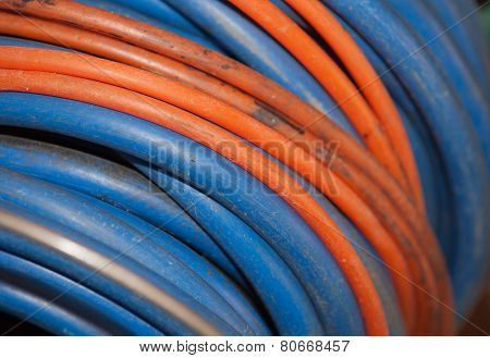 Old Cable Reel In Blue And Orange
