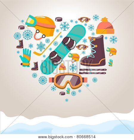 Winter Sports equipment background
