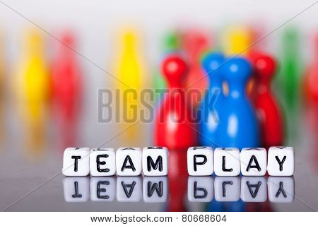 Cube Letters Show The Word Team Play