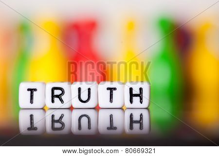 Cube Letters Showing Truth