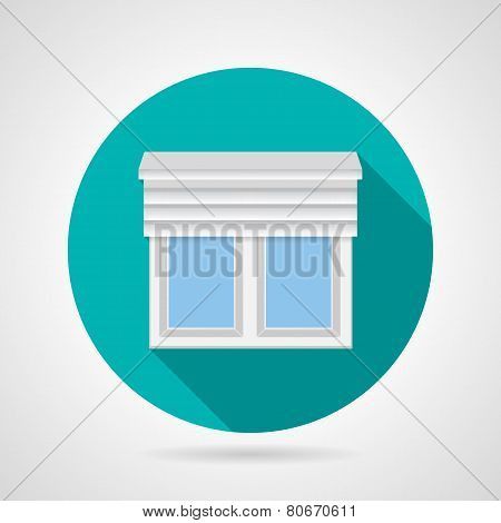 Window with up shutters flat vector icon