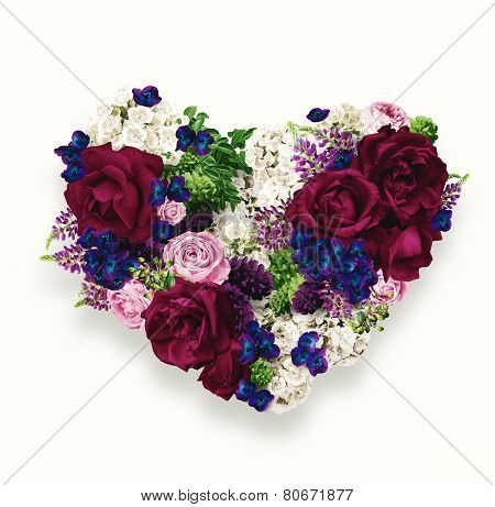 Heart Of Claret Roses And Blue Flowers On St Valentines Day