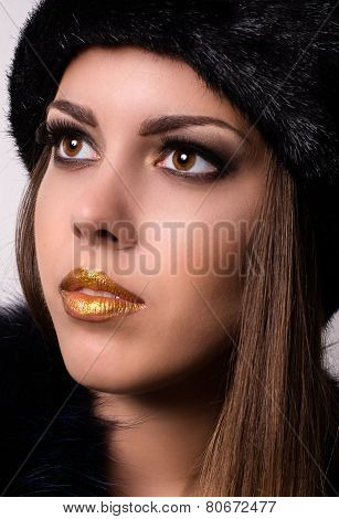 Close Up Pretty Woman With Winter Fur Hat