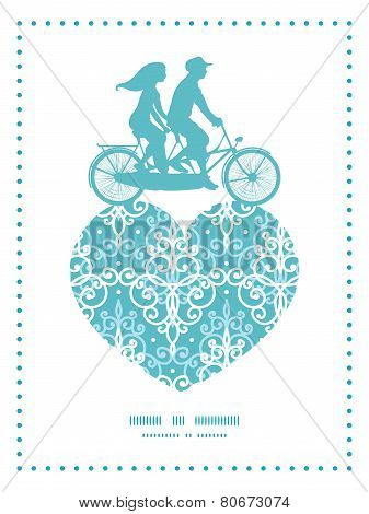 Vector light blue swirls damask couple on tandem bicycle heart silhouette frame pattern greeting car