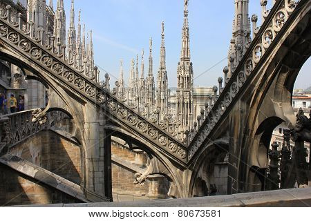 Duomo Cathedral In Milan from the roof