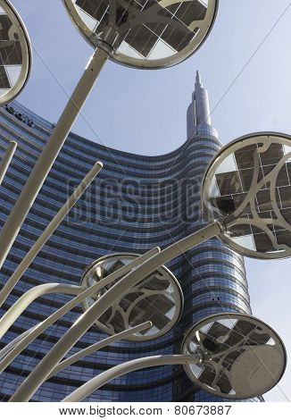Architectural Detail Of The Glass Facade On The Unicredit Tower Building