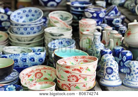 Pottery Stall At The Hoi An Market, Vietnam.