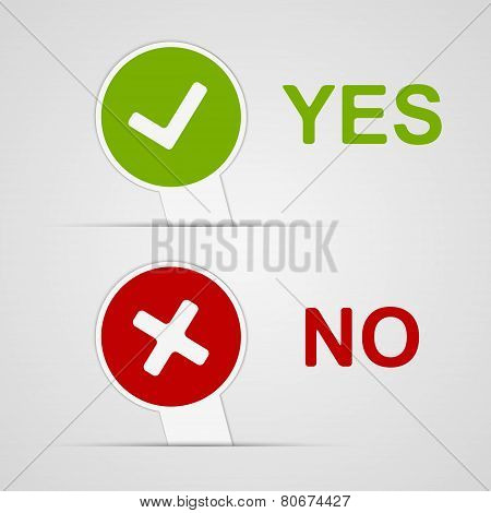 Yes And No Icons Paper Stickers. Vector Illustration.