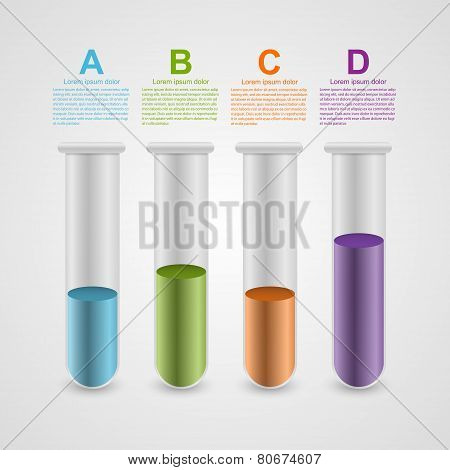 Modern Infographic On Science And Medicine In The Form Of Test Tubes. Design Elements.