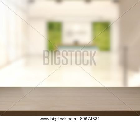 Wood Table Of Background In Reception Hall