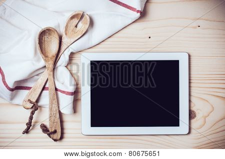 Tablet On Kitchen Table