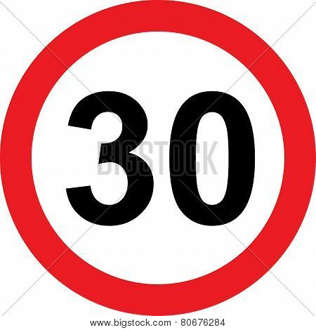 30 Speed Limitation Road Sign