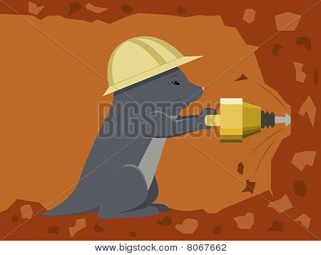 Mole builder is digging a tunnel with a jackhammer