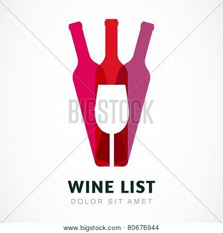 Abstract Colorful Logo Design Template. Wine Bottle And Glass Vector Icon. Concept For Bar Menu, Pa