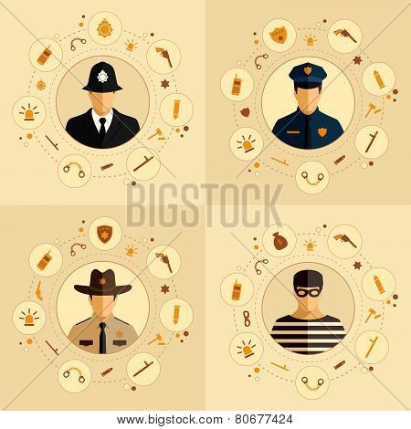 security icon, police background,