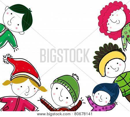 Sketch winter children
